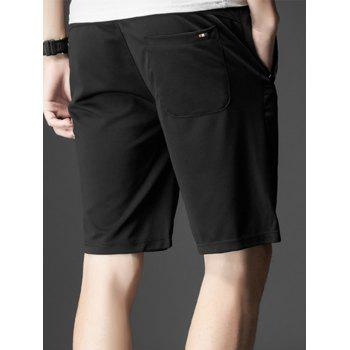 Stripe Trim Drawstring Casual Shorts - BLACK BLACK
