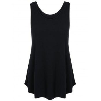 Back Cut Out Tank Top - BLACK BLACK