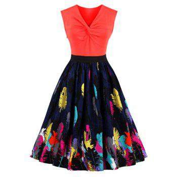 Vintage Front Knot Feather Print Skater Dress