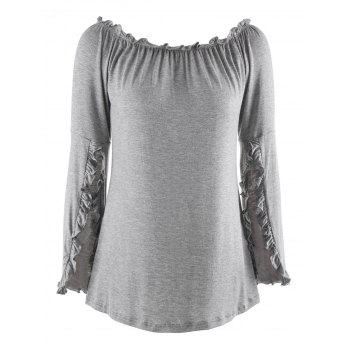 Off The Shoulder Bell Sleeve T-Shirt - GRAY XL