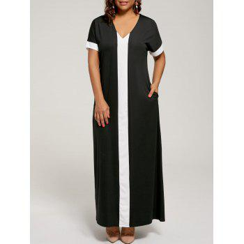Contrast Plus  Size Maxi Evening Dress with Pockets