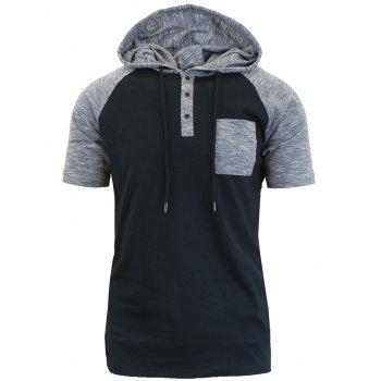 Hooded Drawstring Raglan Sleeve Panel Design T-shirt - BLACK M