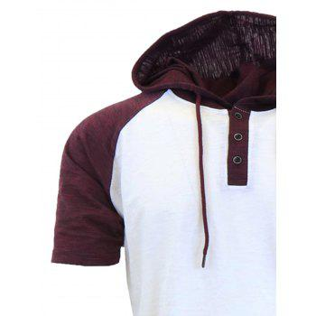 Hooded Drawstring Raglan Sleeve Panel Design T-shirt - Blanc XL