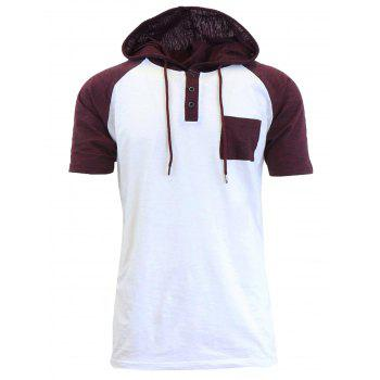 Hooded Drawstring Raglan Sleeve Panel Design T-shirt - WHITE M