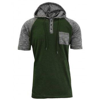Hooded Drawstring Raglan Sleeve Panel Design T-shirt - ARMY GREEN L