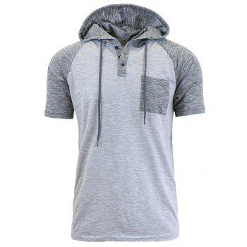 Hooded Drawstring Raglan Sleeve Panel Design T-shirt - LIGHT GRAY M