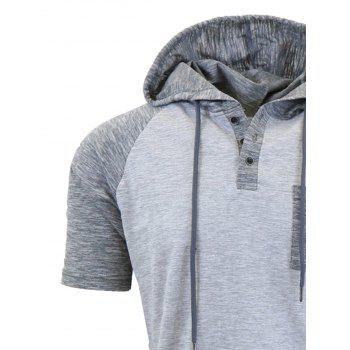 Hooded Drawstring Raglan Sleeve Panel Design T-shirt - LIGHT GRAY LIGHT GRAY