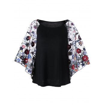 Embroidery Sheer Batwing Sleeve Blouse