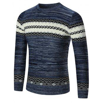 Crew Neck Geometric Pattern Space Dyed Sweater - BLUE BLUE