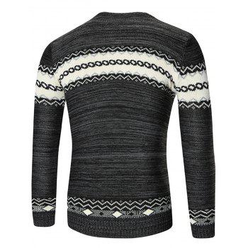 Crew Neck Geometric Pattern Space Dyed Sweater - BLACK BLACK