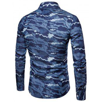Camouflage Long Sleeve Denim Shirt - DEEP BLUE XL