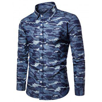Camouflage Long Sleeve Denim Shirt - DEEP BLUE M