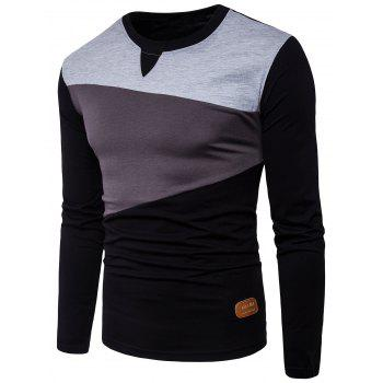 PU Leather Applique Panel Design Long Sleeve T-shirt