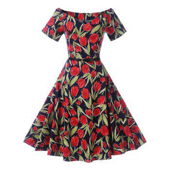 Off The Shoulder Floral Print Skater Dress - DEEP RED DEEP RED