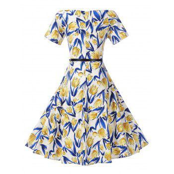 Off The Shoulder Floral Print Skater Dress - BLUE/YELLOW BLUE/YELLOW