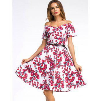Off The Shoulder Floral Print Skater Dress - ROSE MADDER ROSE MADDER