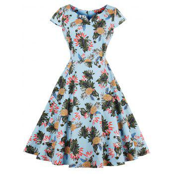 Vintage Pineapple Print Pin Up Dress