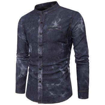 Edging Tie Dye Long Sleeve Denim Shirt