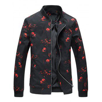 Flower Print Zip Up Jacket - RED L