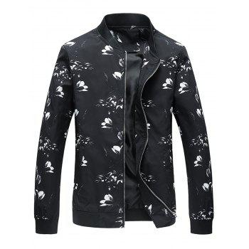 Flower Print Zip Up Jacket - WHITE 5XL