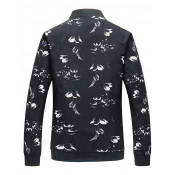 Flower Print Zip Up Jacket - 5XL 5XL