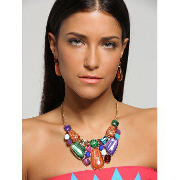 Retro Faux Gemstone Statement Necklace Set -  JACINTH