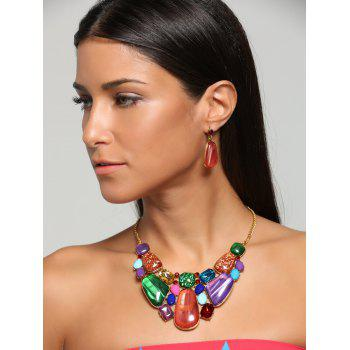 Retro Faux Gemstone Statement Necklace Set - JACINTH JACINTH