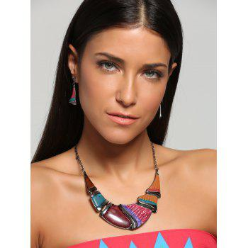 Faux Gem Boho Geometrical Statement Necklace Set -  YELLOW