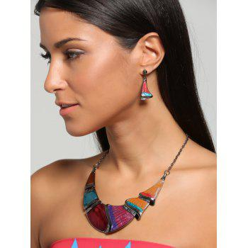 Faux Gem Boho Geometrical Statement Necklace Set - YELLOW YELLOW