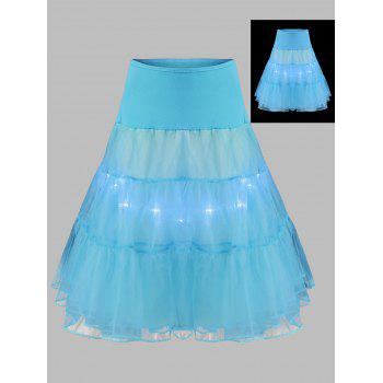 Grand style Light Up Cosplay Party Skirt - Bleu clair 6XL