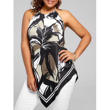 Halter Printed Asymmetric Plus Size Top - BLACK XL