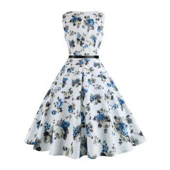 Printed Plus Size Vintage Swing Dress with Belt - WHITE WHITE