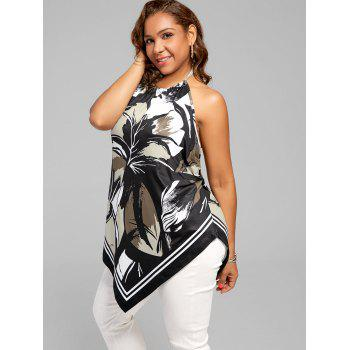 Halter Printed Asymmetric Plus Size Top - BLACK BLACK