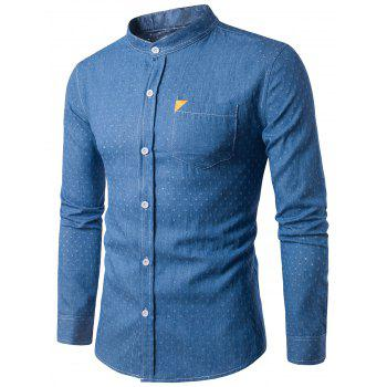 PU Leather Embellished Holes Long Sleeve Denim Shirt - LIGHT BLUE LIGHT BLUE
