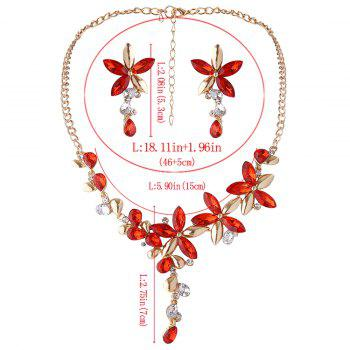 Faux Crystal Flower Necklace with Earring Set - RED