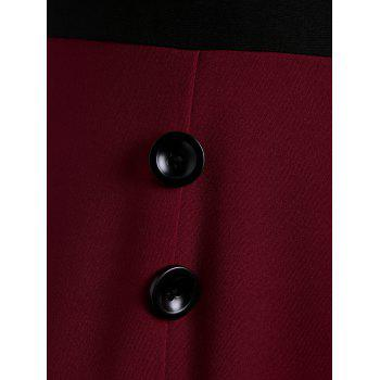Skew Collar Midi Buttoned Mermaid Dress - WINE RED WINE RED