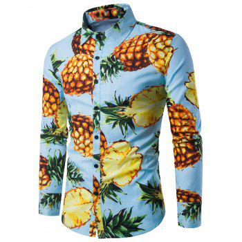 3D Pineapple Print Long Sleeve Shirt