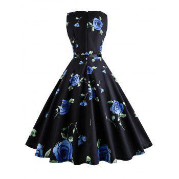 Plus Size Floral Printed Retro Dress - BLUE 2XL