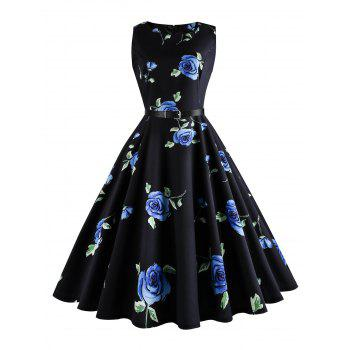 Plus Size Floral Printed Retro Dress