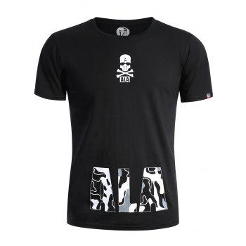 Skull Print Graphic T Shirt - BLACK 3XL