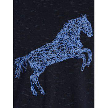 Animal Horse Print Short Sleeve T-shirt - L L
