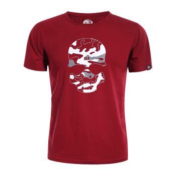 Skull Print Graphic Camo Men Tee - RED L
