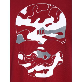 Skull Print Graphic Camo Men Tee - RED XL