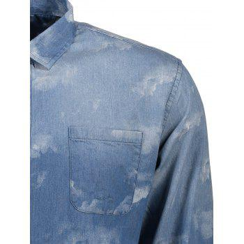 Tie Dyed Single Breasted Denim Shirt - BLUE BLUE