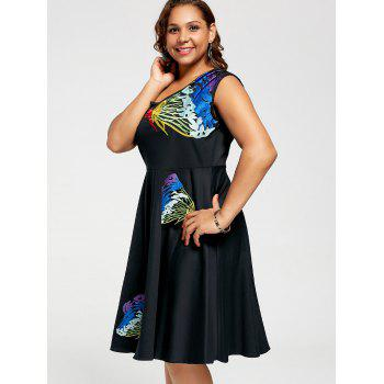 Butterfly Embroidered Sleeveless A Line Plus Size Dress - 4XL 4XL
