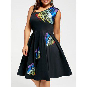 Butterfly Embroidered Sleeveless A Line Plus Size Dress - COLORMIX COLORMIX