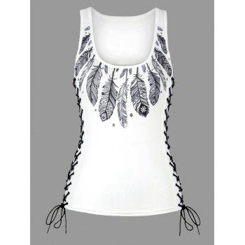 Feather Print Lace Up U Neck Tank Top - WHITE M