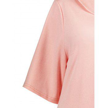 Plus Size Collared A Line Dress with Pockets - PINK PINK