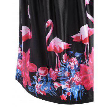 Flamingo Print Plus Size V Neck Midi Vintage Dress - BLACK BLACK