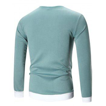 Contraste Trim Crew Neck Patch Sweatshirt - Vert 2XL